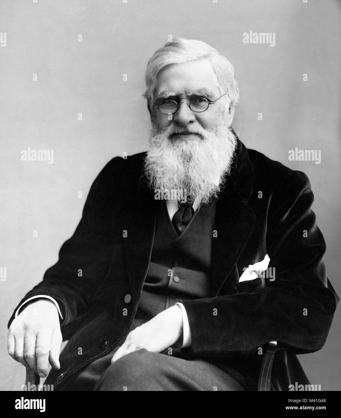 Alfred Wallace. Portrait of the English naturalist, Alfred Russel Wallace (1823-1913) - Stock Image