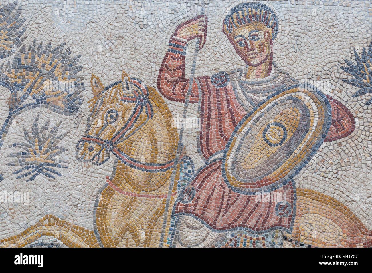 Merida, Spain - December 20th, 2017: Panther hunter roman  mosaic, detail. National Museum of Roman Art in Merida, - Stock Image