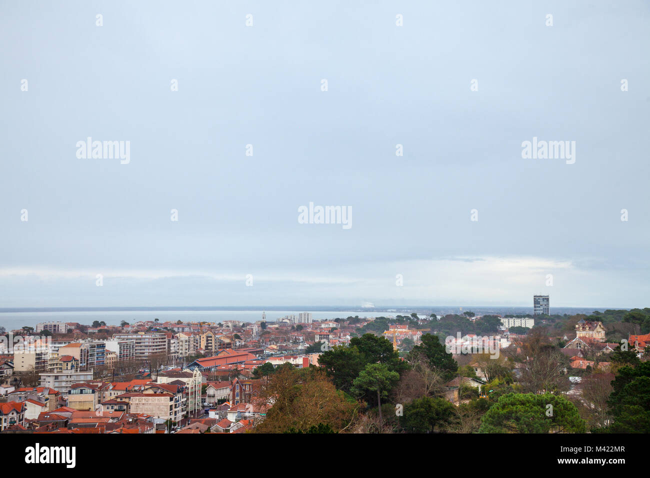 Aerial view of Arcachon, France, during a storm on a cloudy rainy day. Located in Arcachon bay (bassin d'Arcachon), - Stock Image