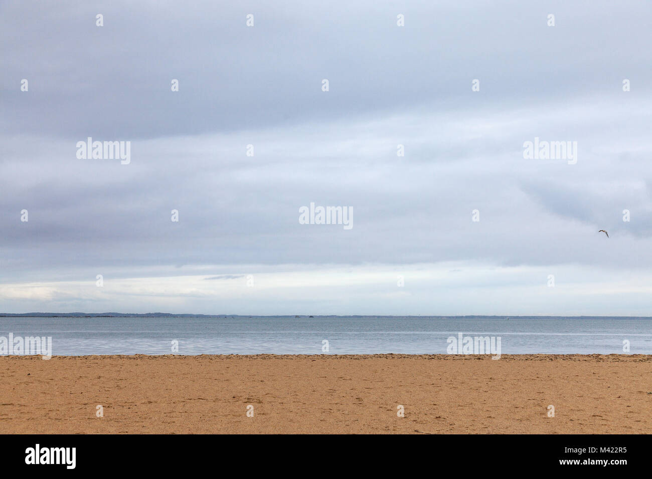 Atlantic ocean in Gujan Mestras, Bassin d'Arcachon, France, during a storm on a cloudy rainy afternoon. This - Stock Image