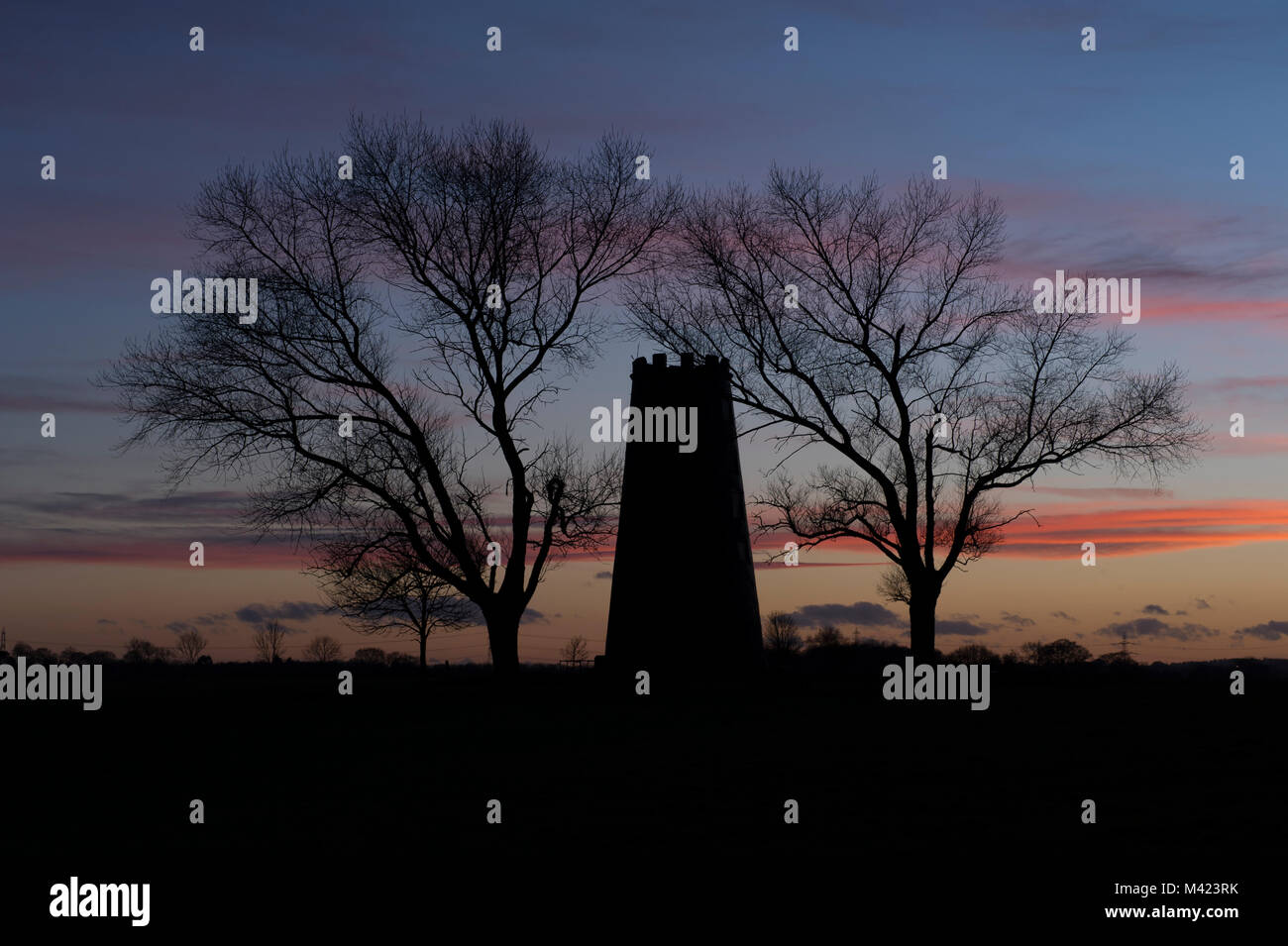 The Black Mill at sunset on Beverley Westwood outside the market town of Beverley in East Yorkshire - Stock Image