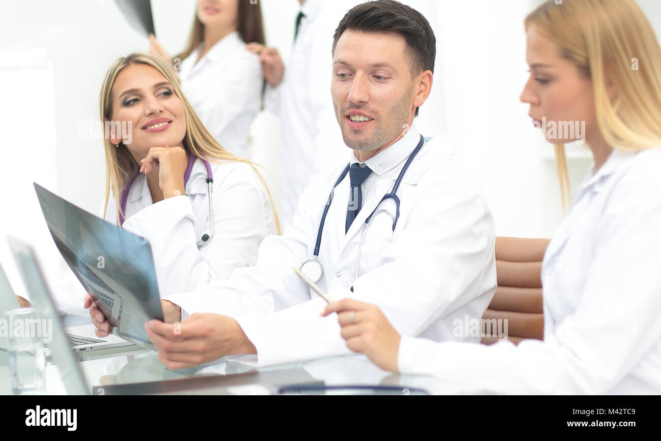group of medical workers working together in hospital - Stock Image