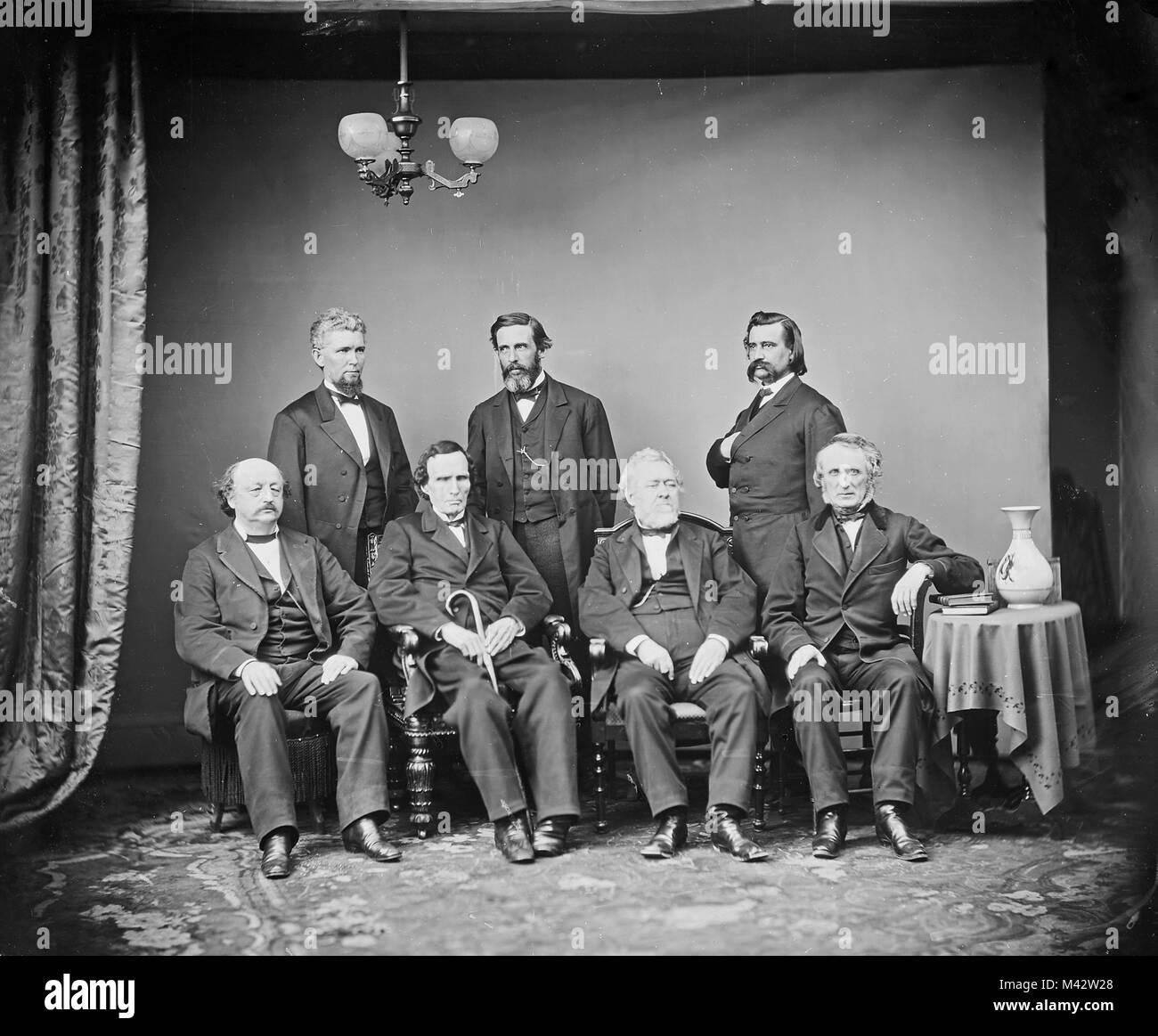 Johnson Impeachment Committee. Left to right, Seated: Benjamin F. Butler, Thaddeus Stevens, Thomas Williams, John - Stock Image