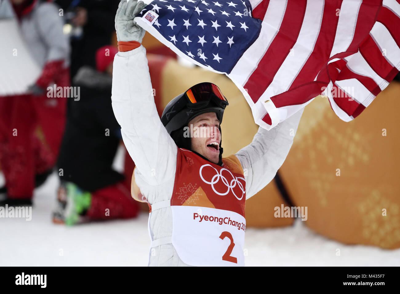 Pyeongchang, South Korea. 14th Feb, 2018. Shaun White of the U.S. celebrates after winning the men's halfpipe - Stock Image