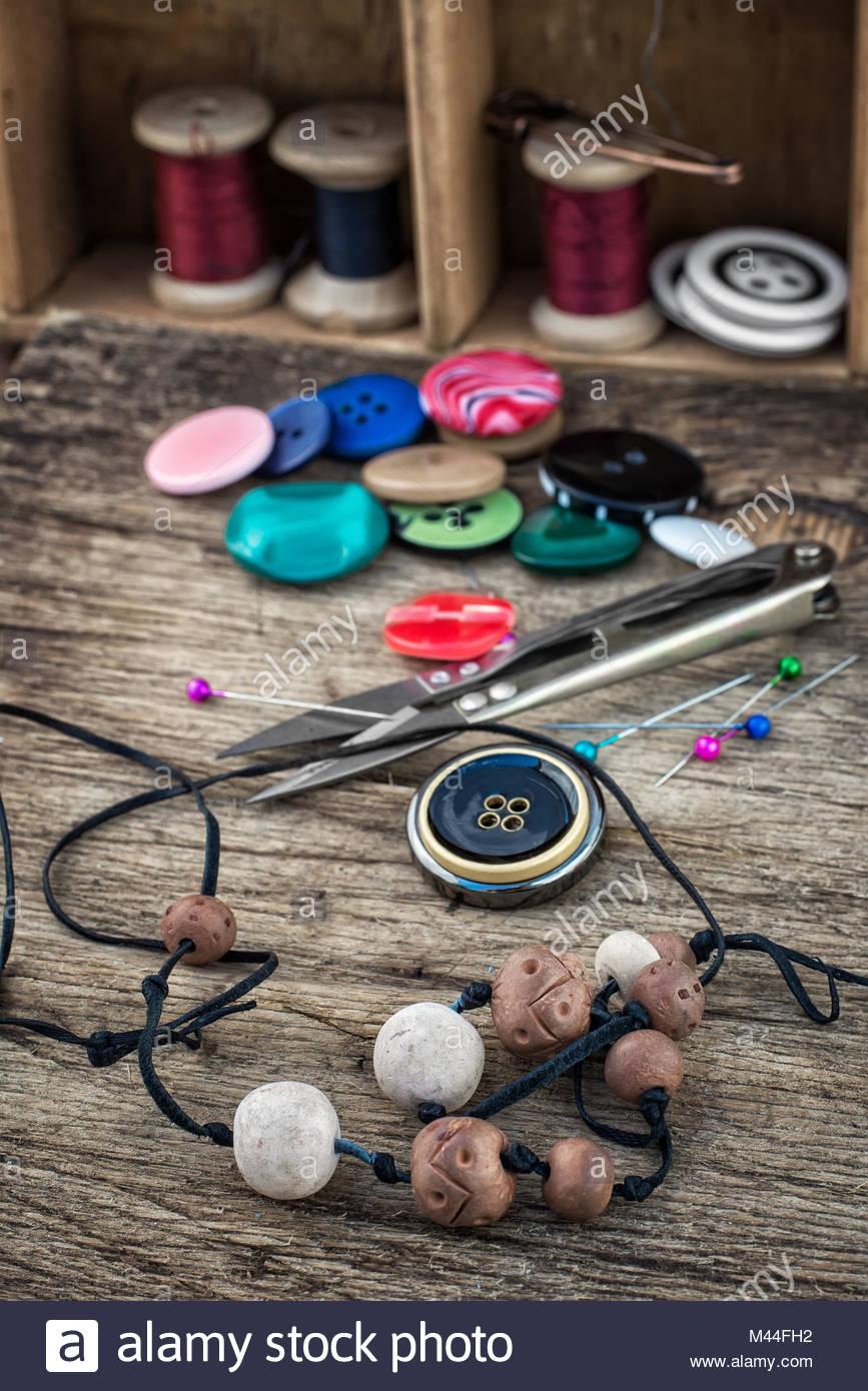 set for needlework beaded - Stock Image