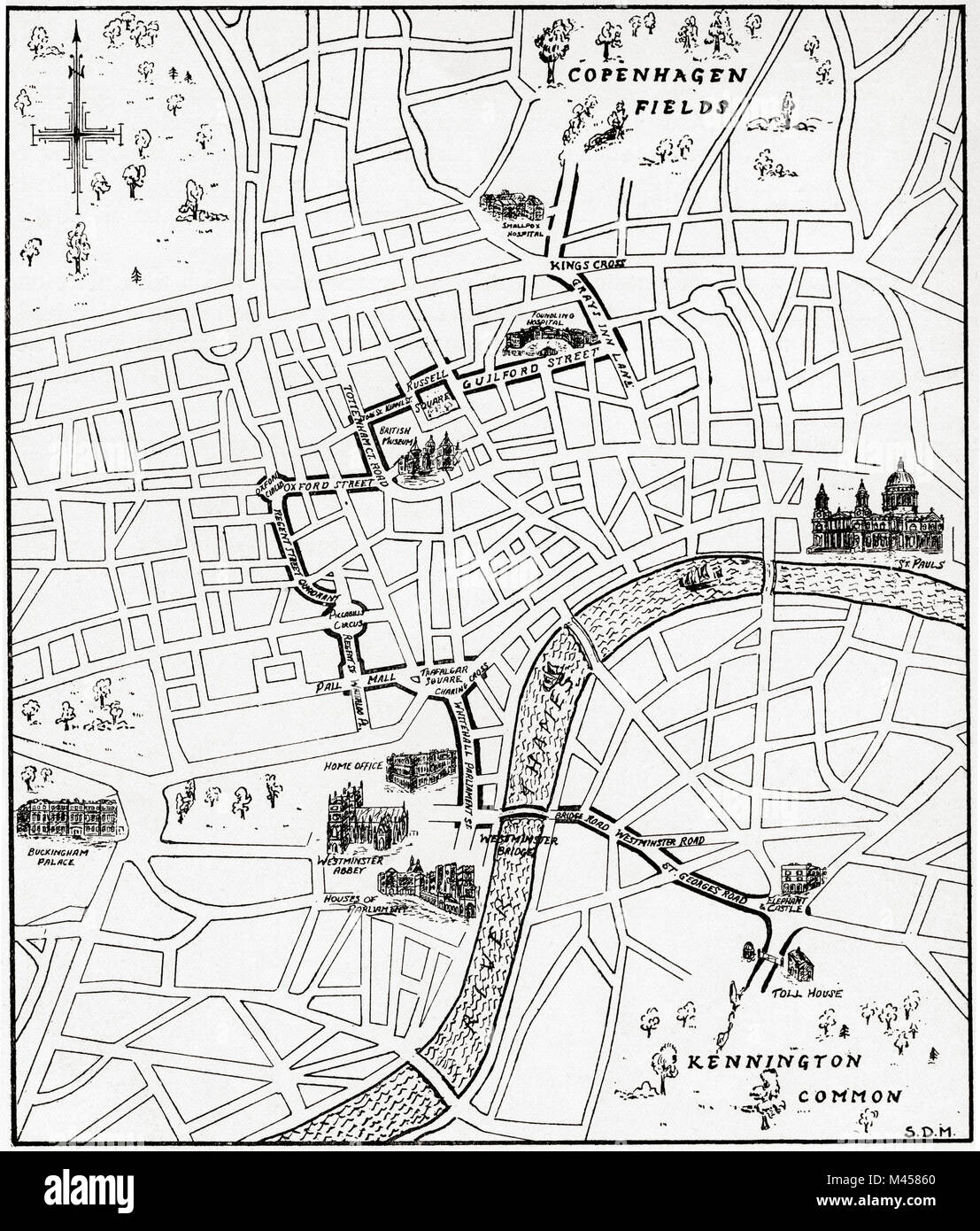 Map showing the route of the demonstration at Copenhagen Fields, London, England 21 April 1834 in protest against - Stock Image