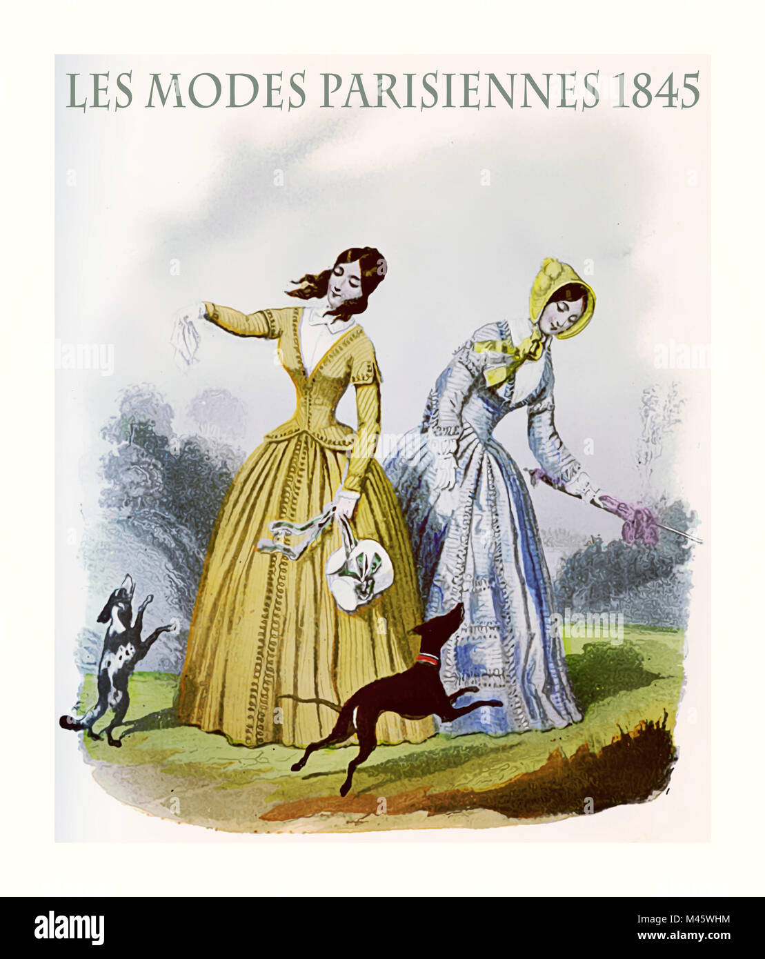 1845 vintage fashion, French magazine Les Modes Parisiennes presents two young ladies with fancy cloths and elegant - Stock Image