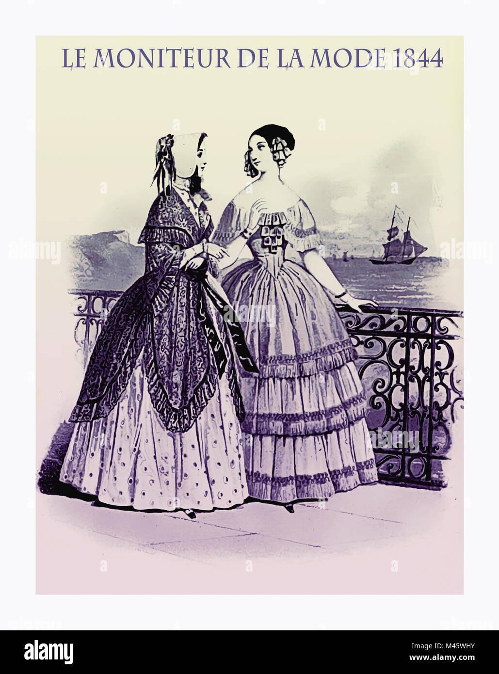 1844 vintage fashion, French magazine Le Moniteur de la Mode presents two ladies walking leisurely outdoor near - Stock Image