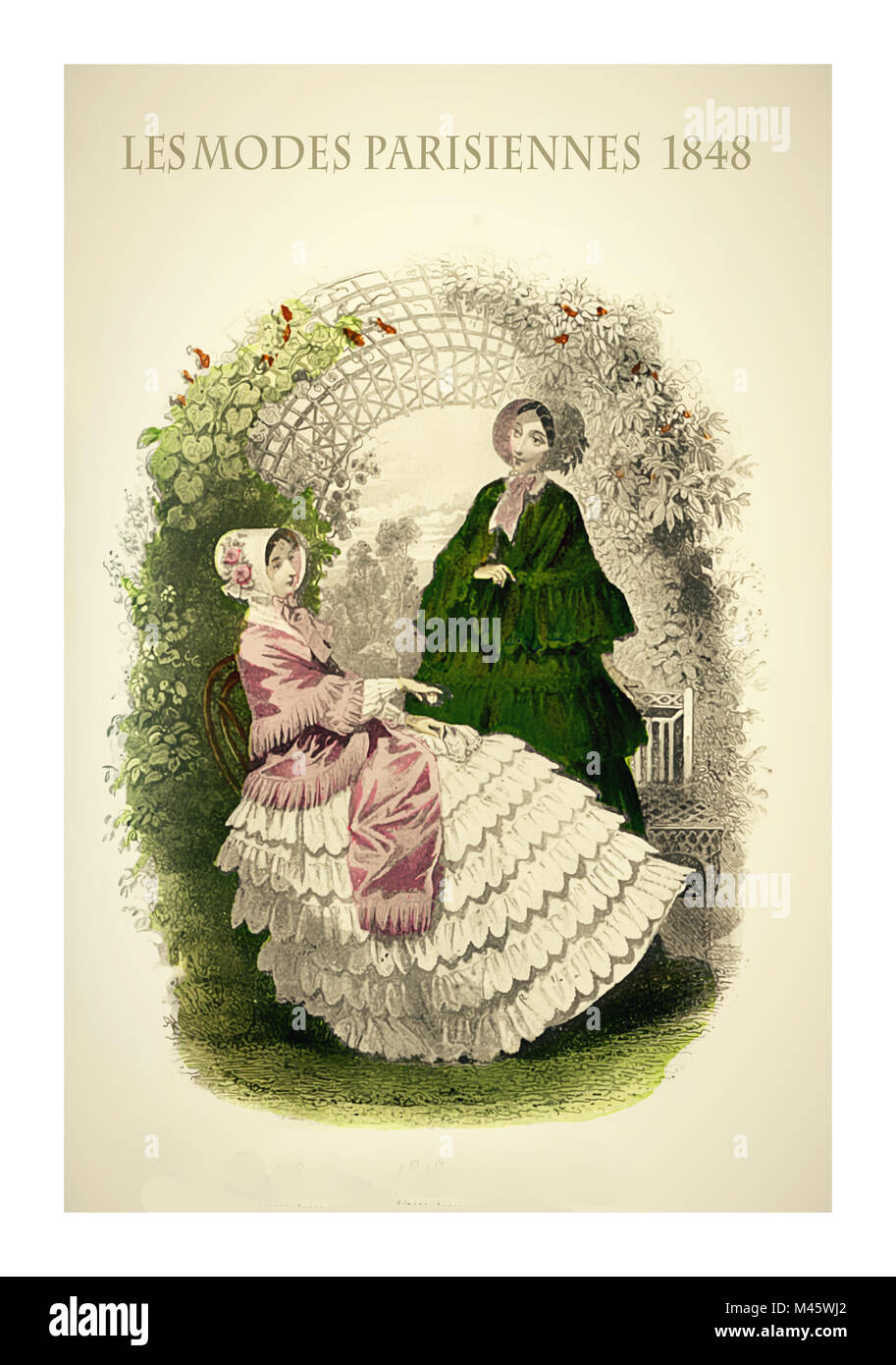 1848 vintage fashion, French magazine Les Modes Parisiennes presents two ladies chatting leisurely outdoor in a - Stock Image