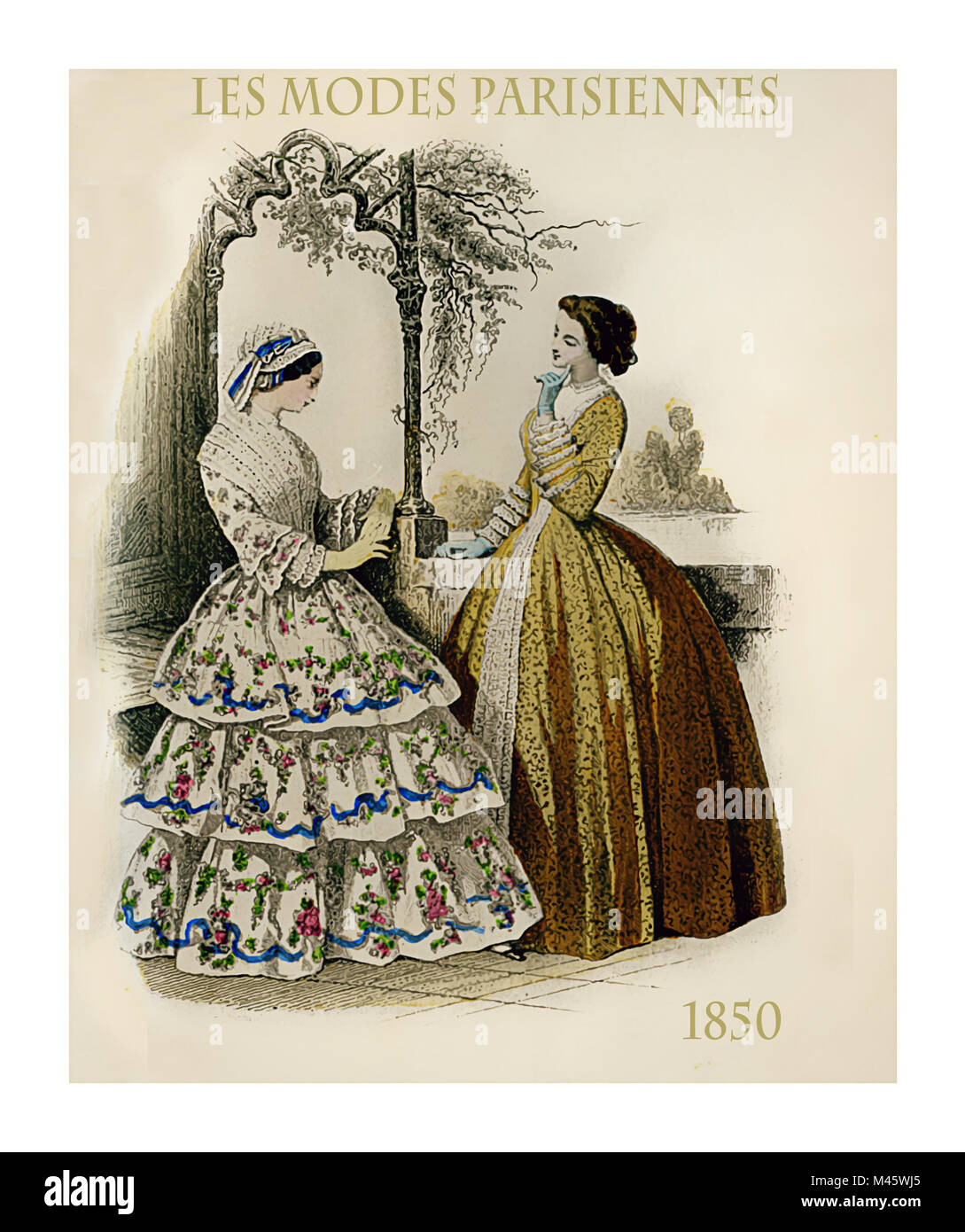 1850 vintage fashion, French magazine Les Modes Parisiennes presents two ladies chatting leisurely outdoors with - Stock Image