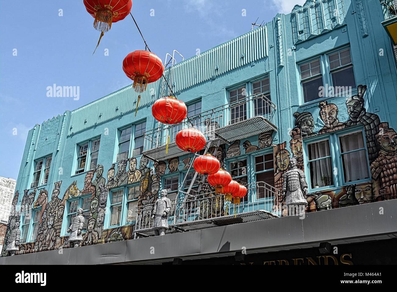 hanging chinese lantern in china twon San Francisco - Stock Image