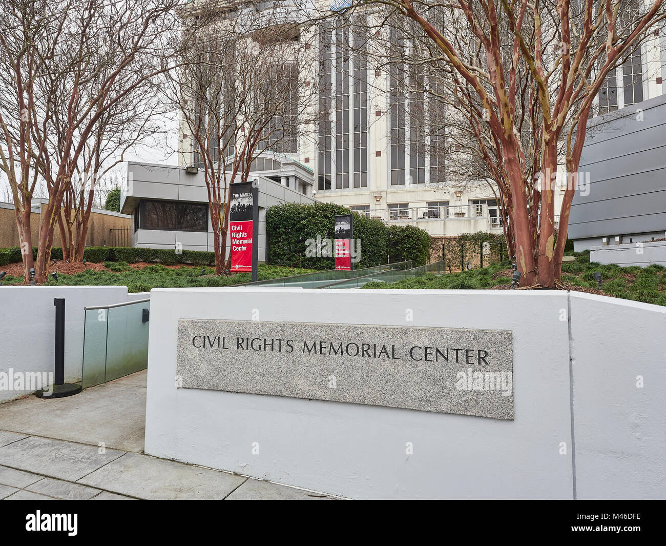 Exterior entrance to the Civil Rights Memorial Center in Montgomery Alabama USA. - Stock Image