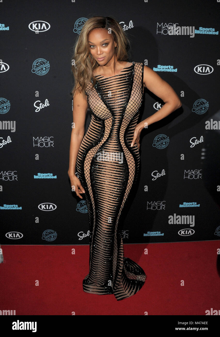 New York, NY, USA. 14th Feb, 2018. Tyra Banks attends Sports Illustrated 2018 Launch event at Moxy Times Square - Stock Image