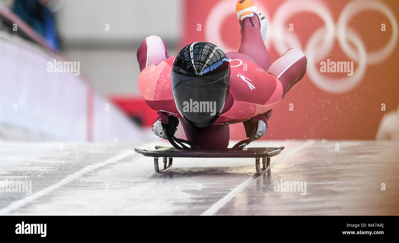 Pyeongchang, South Korea. 15th Feb, 2018. Olympic athelete from Russia Nikita Tregubov competes in the men's - Stock Image