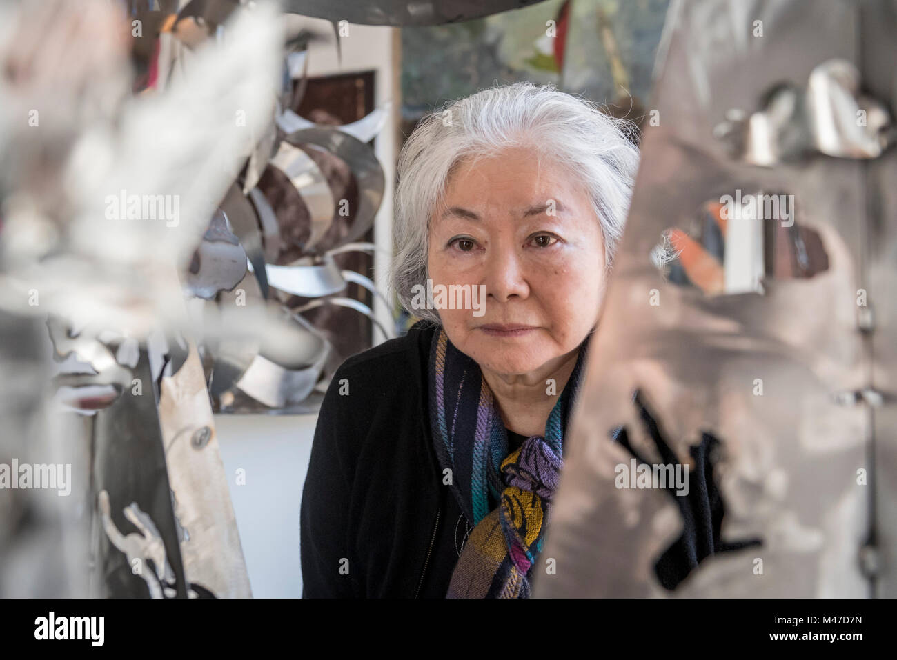 London, UK.  15 February 2018.  Japanese artist Setsuko Ono, pictured with 'Acropolis Down Under and Rising - Stock Image