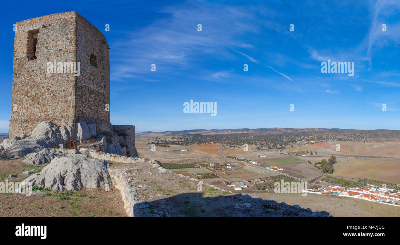 Panoramic from Castle of Belmez, Córdoba, Spain. Situated on the high rocky hill overlooking town of Belmez - Stock Image