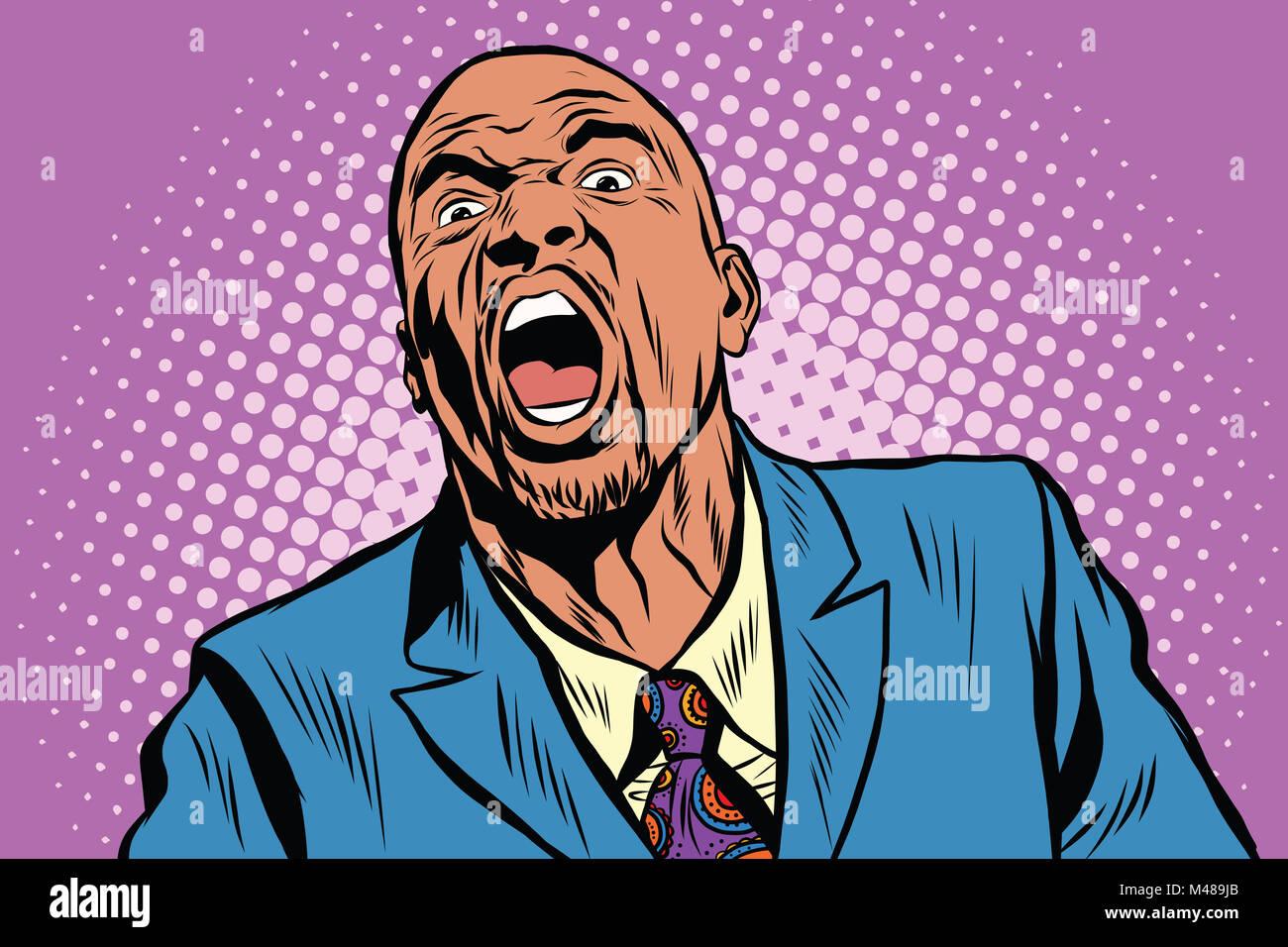 Emotional strong black man - Stock Image