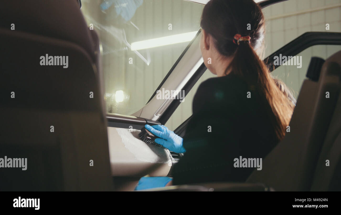 Woman Cleaning Car Interior Stock Photos Amp Woman Cleaning