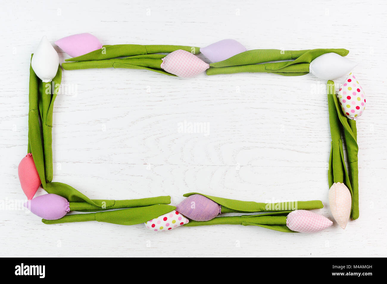 frame of spring tulips flowers  - Stock Image