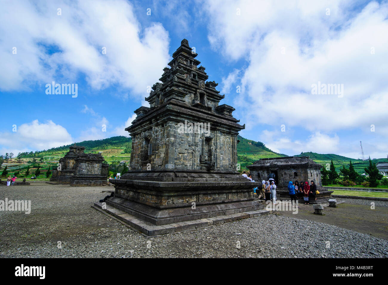 Arjuna Hindu Dieng temple complex ,Dieng Plateau,Java,Indonesia - Stock Image