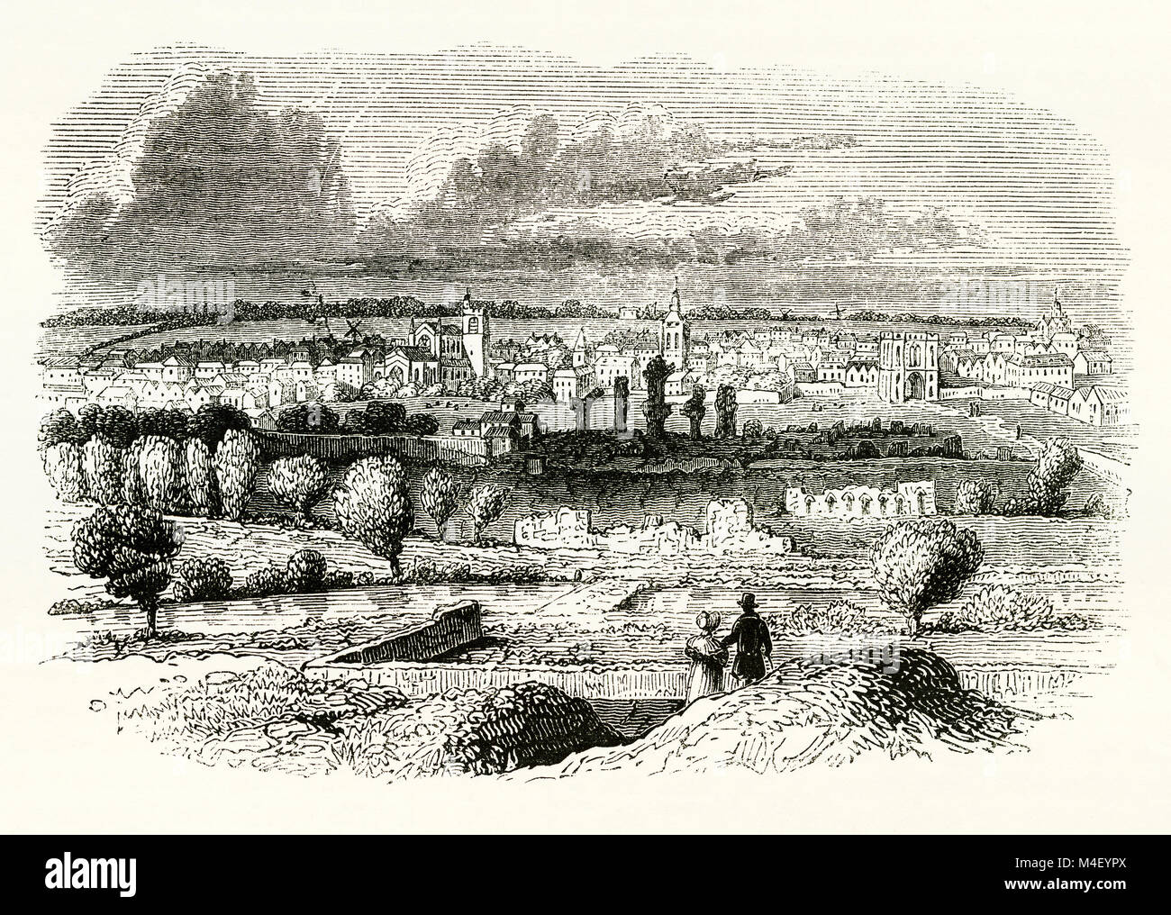 An old engraving of Bury St Edmunds, a market town in west Suffolk, England - in this view the River Lark is in - Stock Image