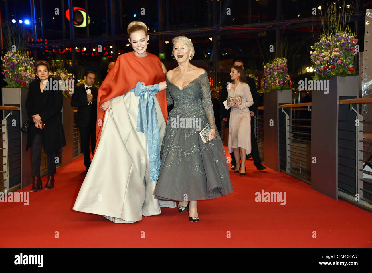 Berlin, Germany. 15th Feb, 2018. Elle Fanning and Helen Mirren attending the 'Isle Of Dogs' premiere at - Stock Image