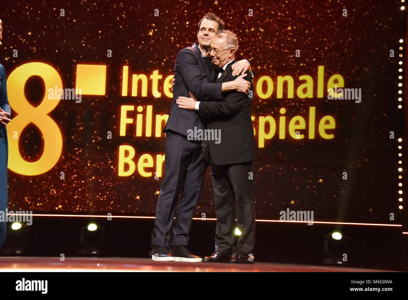 Berlin, Germany. 15th Feb, 2018. Tom Tykwer and Dieter Kosslick attending the Opening Ceremony and 'Isle Of - Stock Image