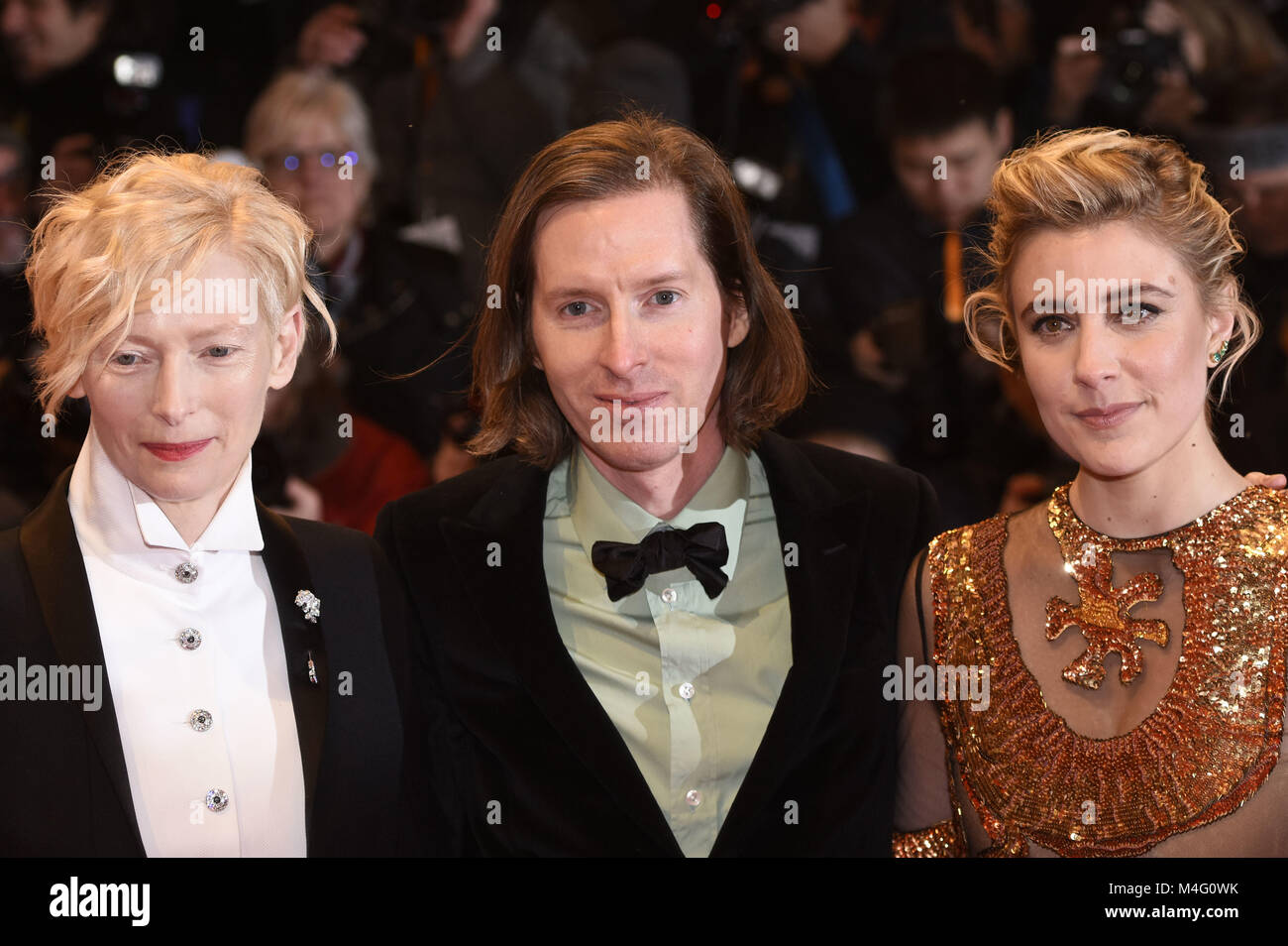 Berlin, Germany. 15th Feb, 2018. Tilda Swinton, Wes Anderson and Greta Gerwig attending the 'Isle Of Dogs' - Stock Image