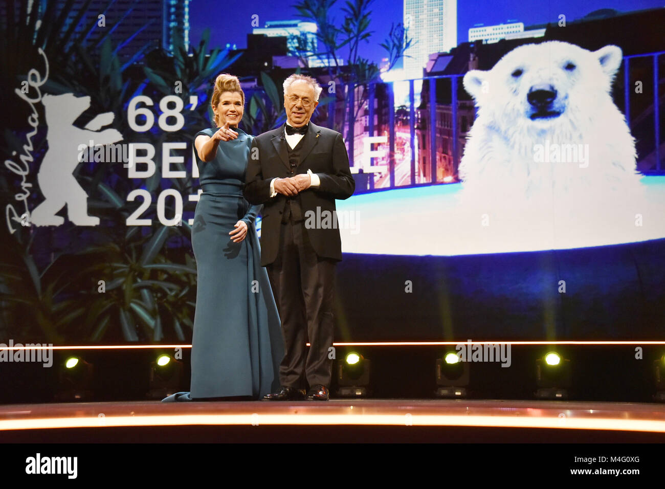 Berlin, Germany. 15th Feb, 2018. Anke Engelke and Dieter Kosslick attending the Opening Ceremony and 'Isle Of - Stock Image