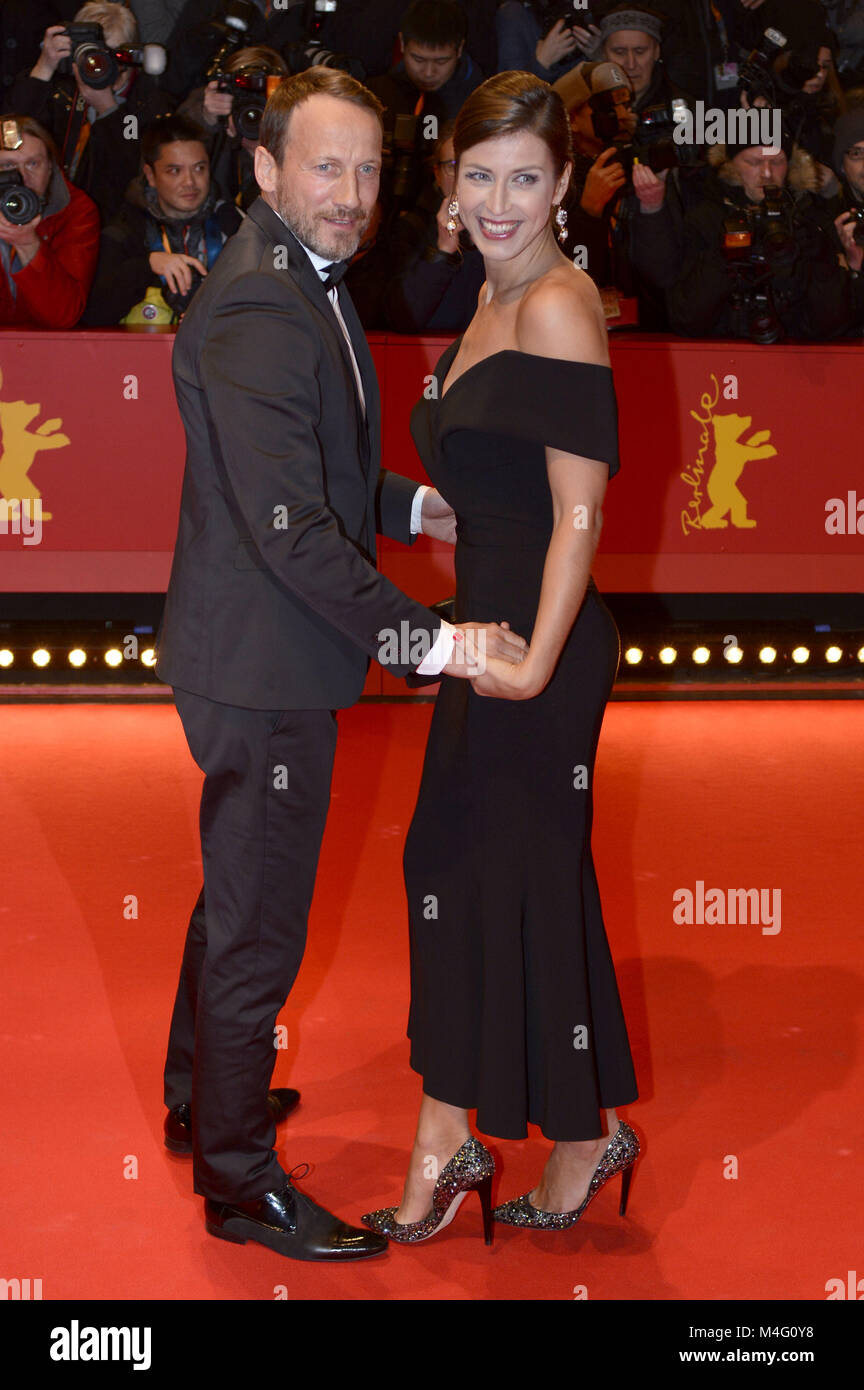 Berlin, Germany. 15th Feb, 2018. Wotan Wilke Möhring and his girlfriend Cosima Lohse attending the 'Isle - Stock Image