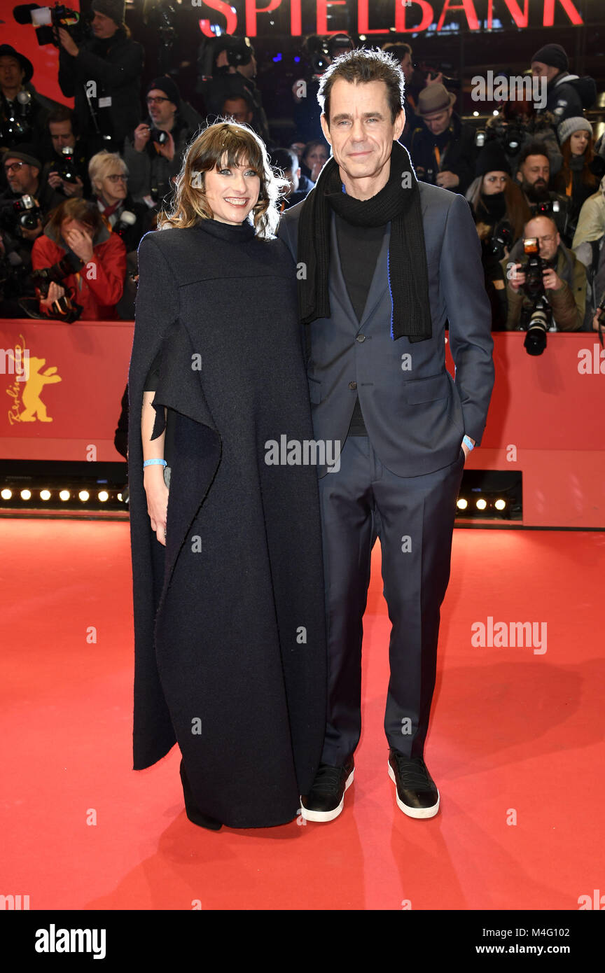 Berlin, Germany. 15th Feb, 2018. Tom Tykwer and his wife Marie Steinmann attending the 'Isle Of Dogs' premiere - Stock Image
