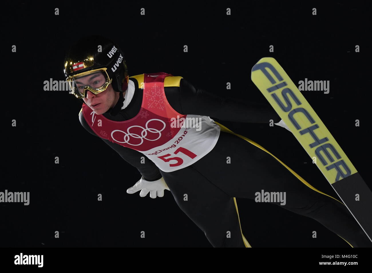 Pyeongchang, South Korea. 16th Feb, 2018. Stefan Kraft from Austria during ski jumping training in the Alpensia - Stock Image