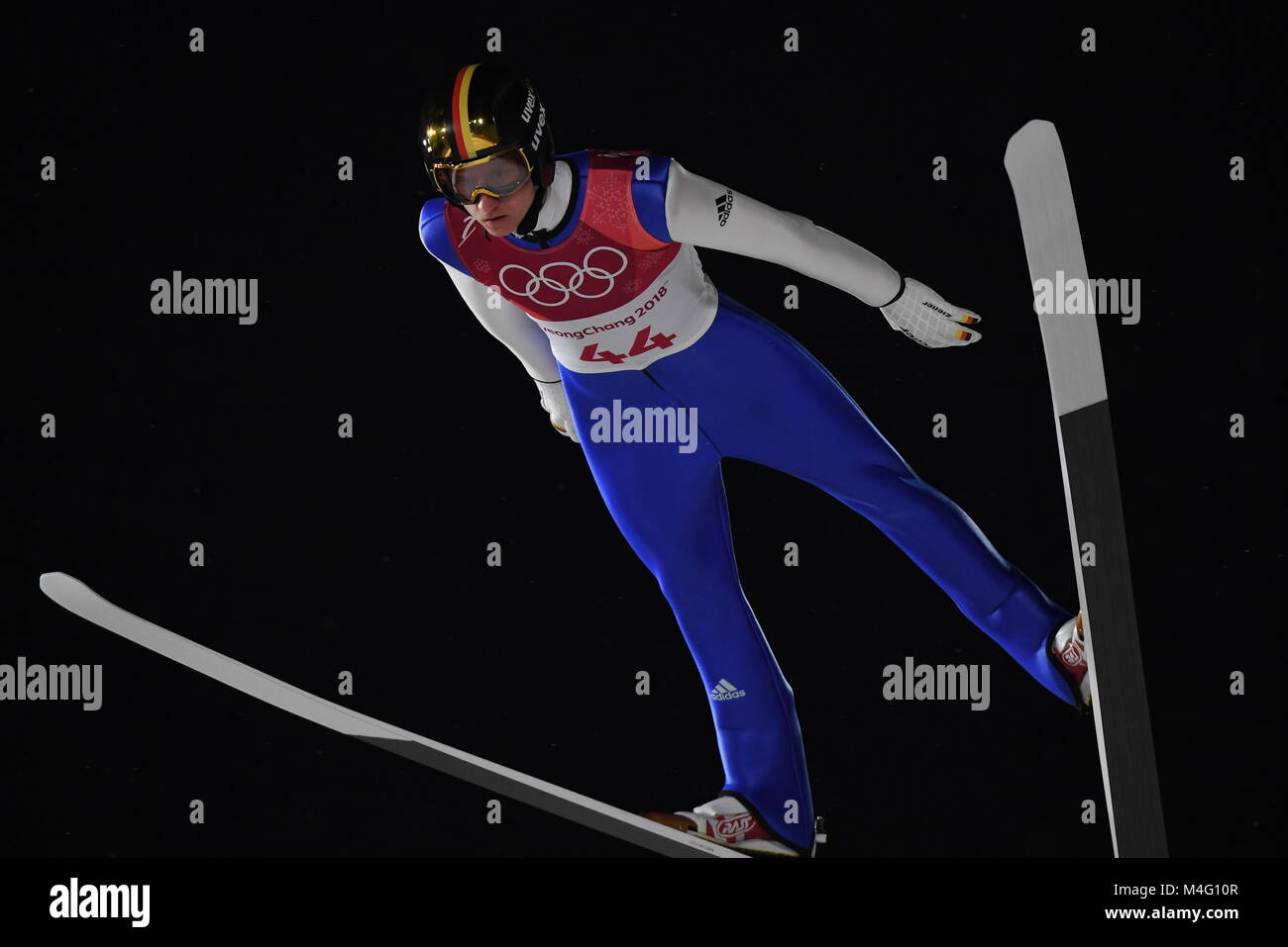 Pyeongchang, South Korea. 16th Feb, 2018. Karl Geiger from Germany during ski jumping training in the Alpensia Ski - Stock Image