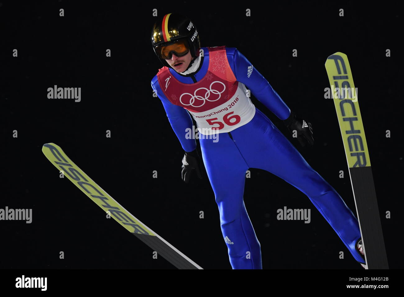Pyeongchang, South Korea. 16th Feb, 2018. Richard Freitag from Germany during ski jumping training in the Alpensia - Stock Image