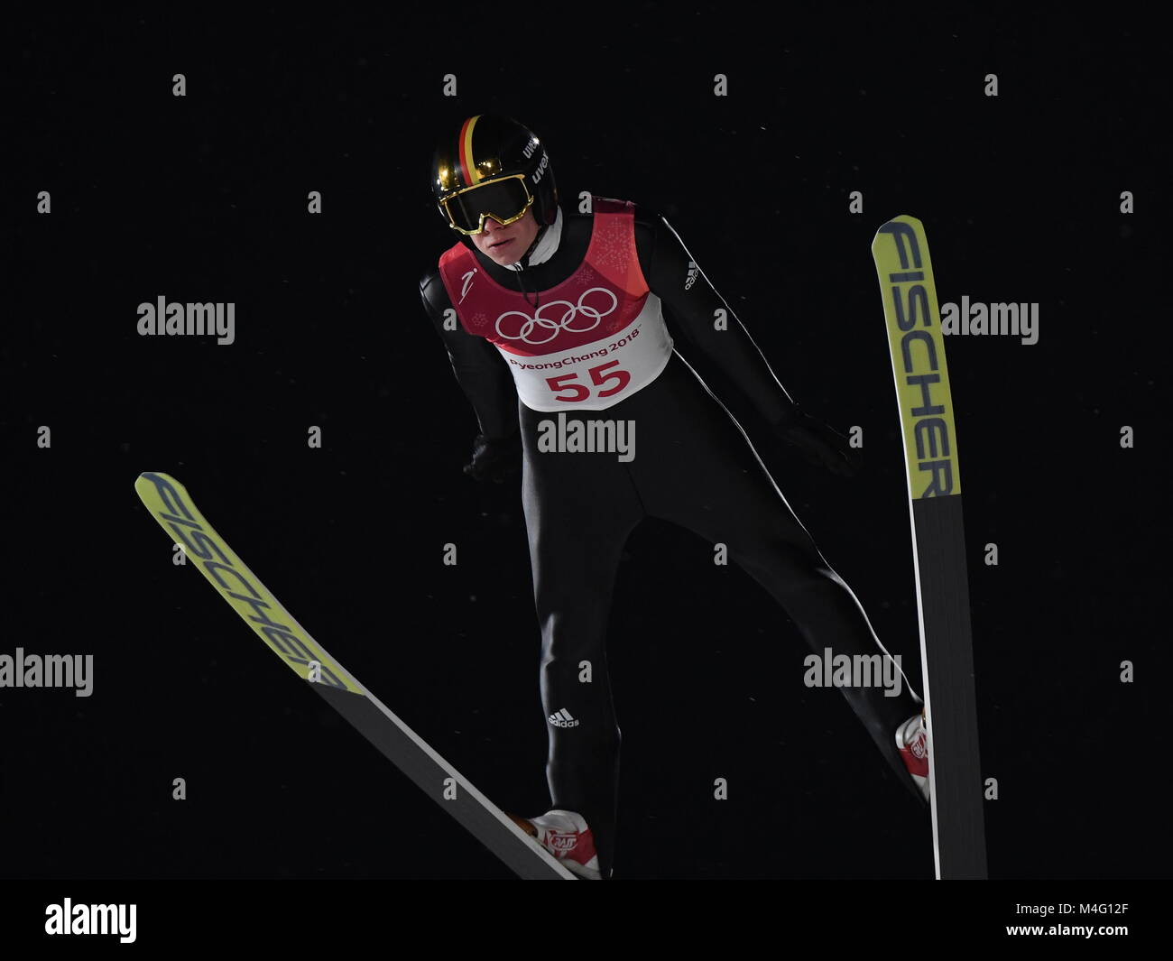 Pyeongchang, South Korea. 16th Feb, 2018. Andreas Wellinger from Germany during ski jumping training in the Alpensia - Stock Image