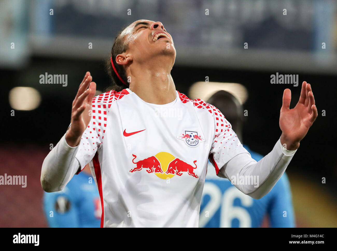 Naples, Italy. 15th Feb, 2018. Leipzig's Yussuf Poulsen reacts during the UEFA Europa League soccer match SSC - Stock Image