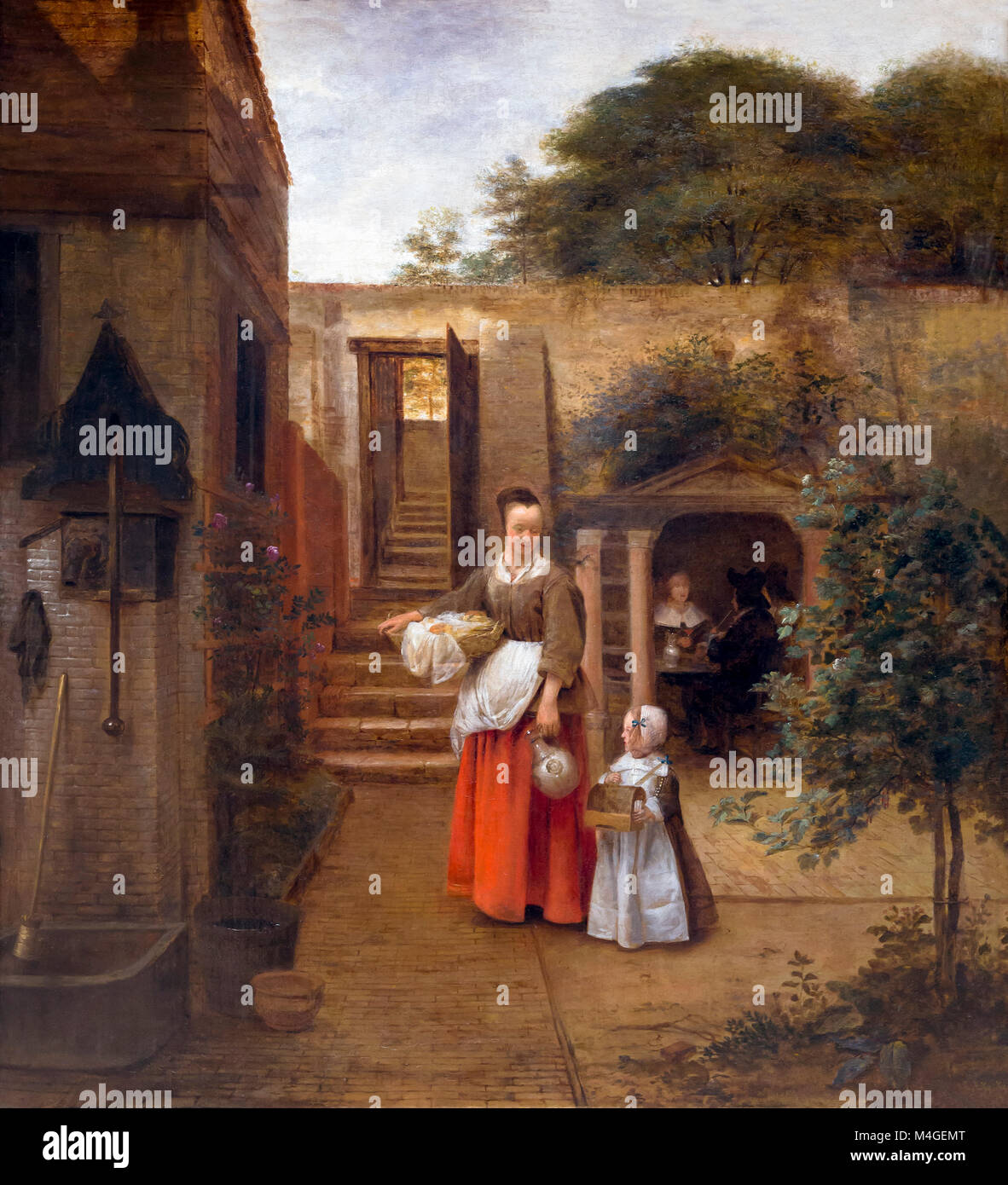 Woman and Child in a Courtyard, Pieter de Hooch, circa 1660, National Gallery of Art, Washington DC, USA, North - Stock Image