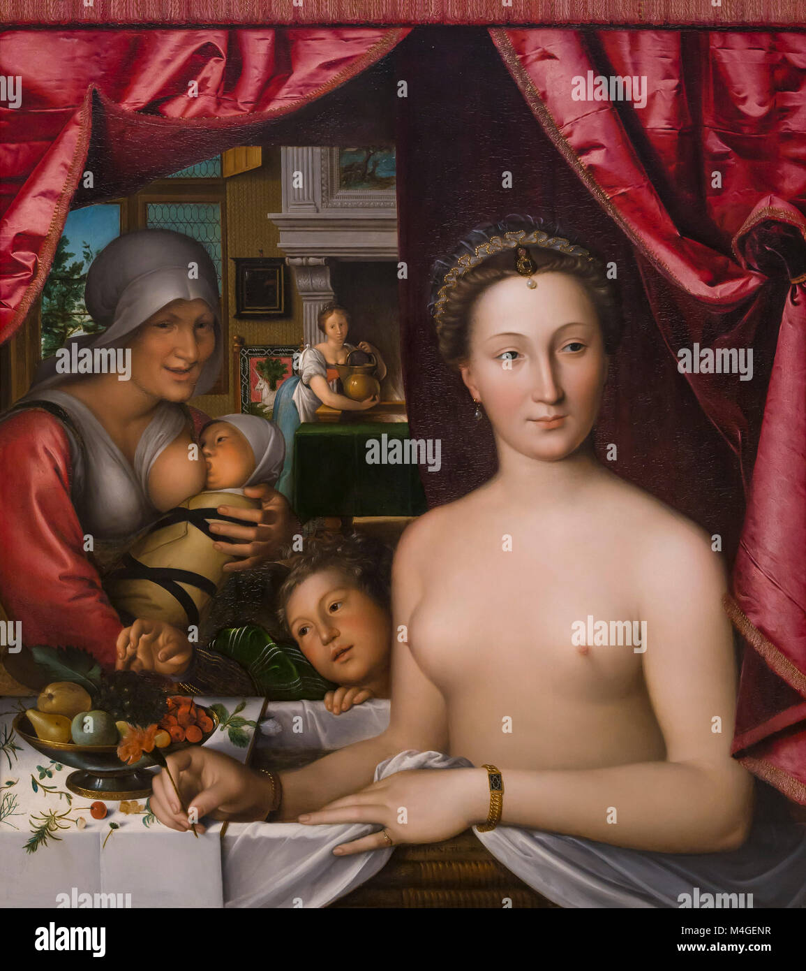 A Lady in Her Bath, Francois Clouet, circa 1571, National Gallery of Art, Washington DC, USA, North America - Stock Image