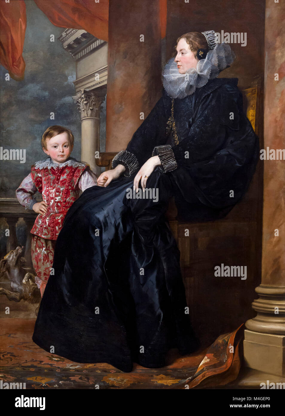 A Genoese Noblewoman and Her Son, Sir Anthony van Dyck, circa 1626, National Gallery of Art, Washington DC, USA, - Stock Image