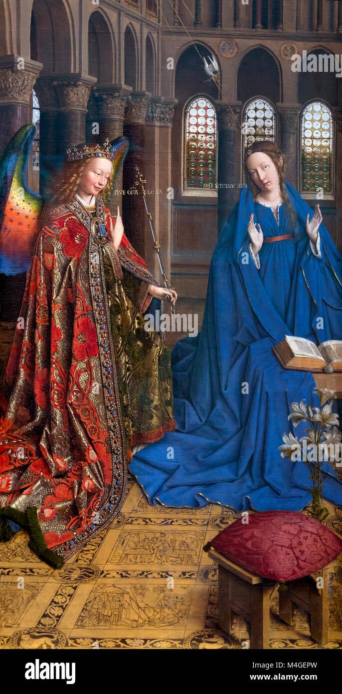 The Annunciation, Jan van Eyck, circa 1435, National Gallery of Art, Washington DC, USA, North America - Stock Image