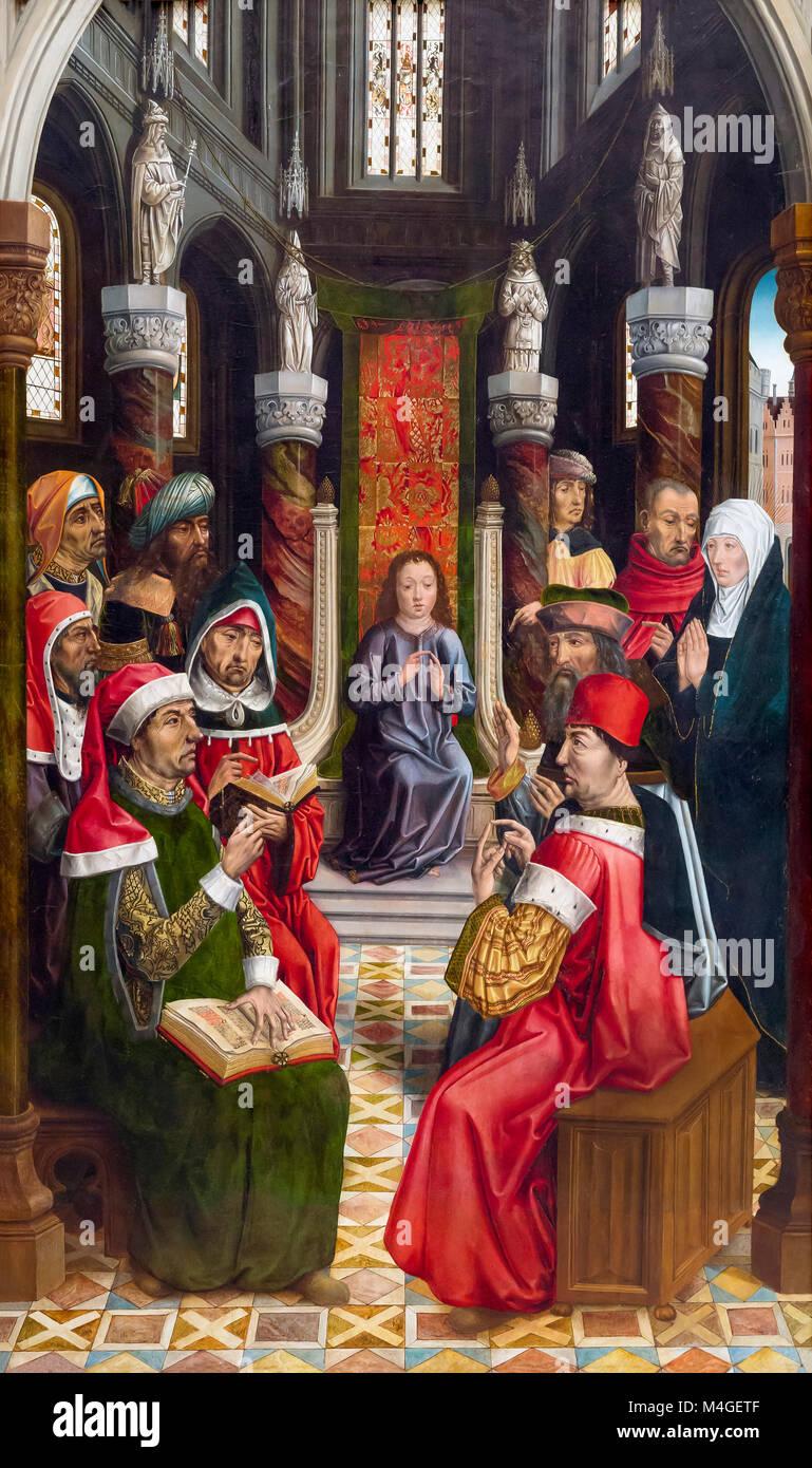 Christ among the Doctors, Master of the Catholic Kings, circa 1495, National Gallery of Art, Washington DC, USA, - Stock Image