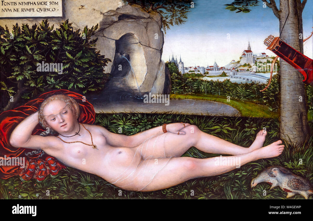 The Nymph of Spring, Lucas Cranach the Elder, after 1537, National Gallery of Art, Washington DC, USA, North America - Stock Image