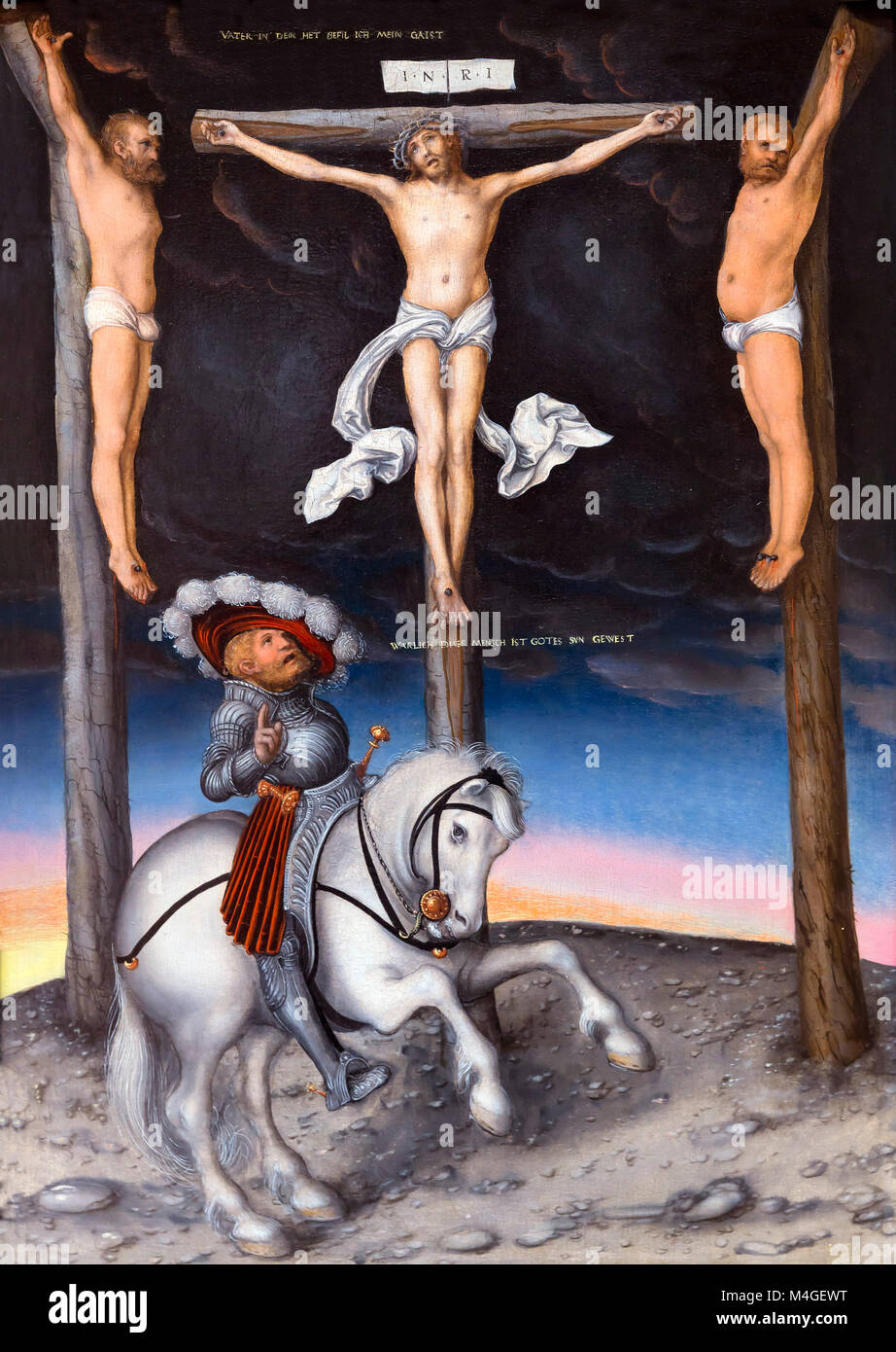 The Crucifixion with the Converted Centurion, Lucas Cranach the Elder, 1536, National Gallery of Art, Washington - Stock Image