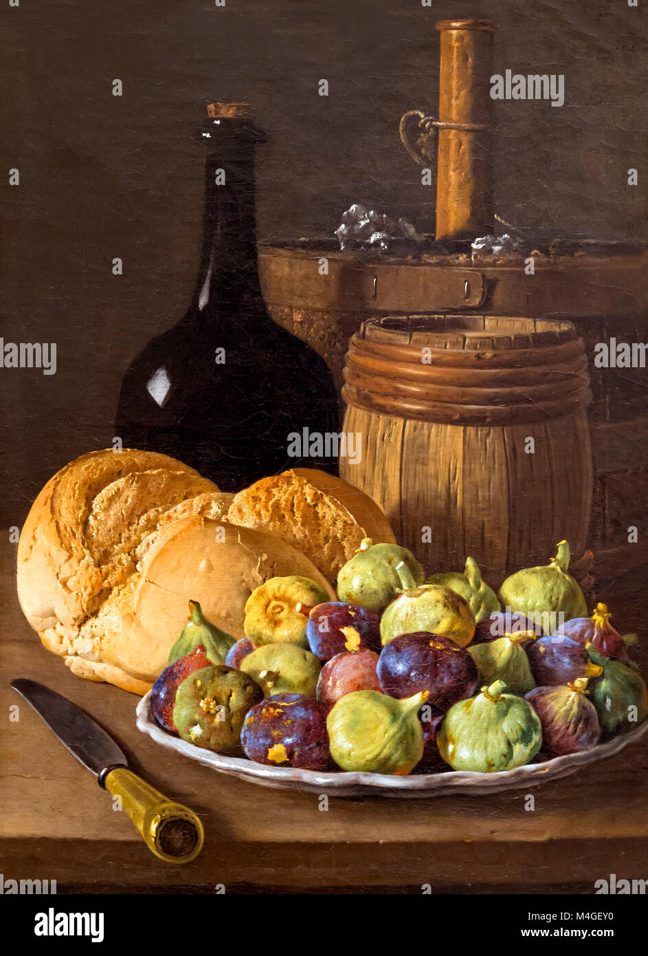 Still Life with Figs and Bread, Luis Melendez, circa 1770, National Gallery of Art, Washington DC, USA, North America - Stock Image
