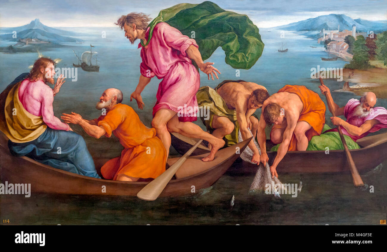 The Miraculous Draught of Fishes, Jacopo Bassano, 1545, National Gallery of Art, Washington DC, USA, North America - Stock Image