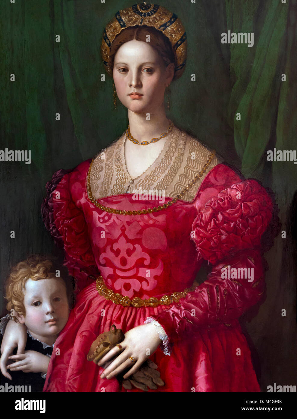 A Young Woman and Her Little Boy, Agnolo Bronzino, circa 1540, National Gallery of Art, Washington DC, USA, North - Stock Image