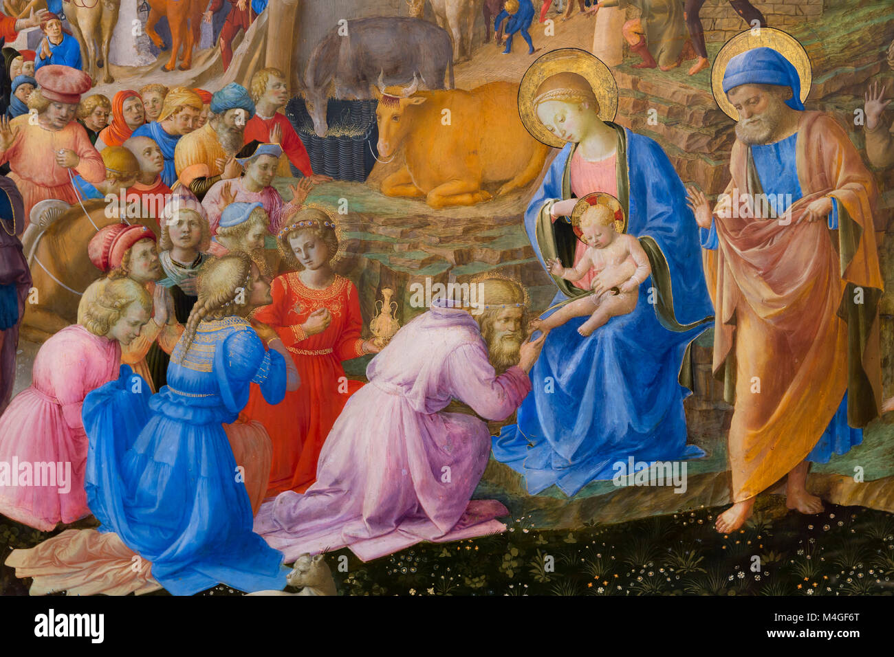 Detail, The Adoration of the Magi, Fra Angelico and Fra Filippo Lippi, circa 1440-1460, National Gallery of Art, - Stock Image