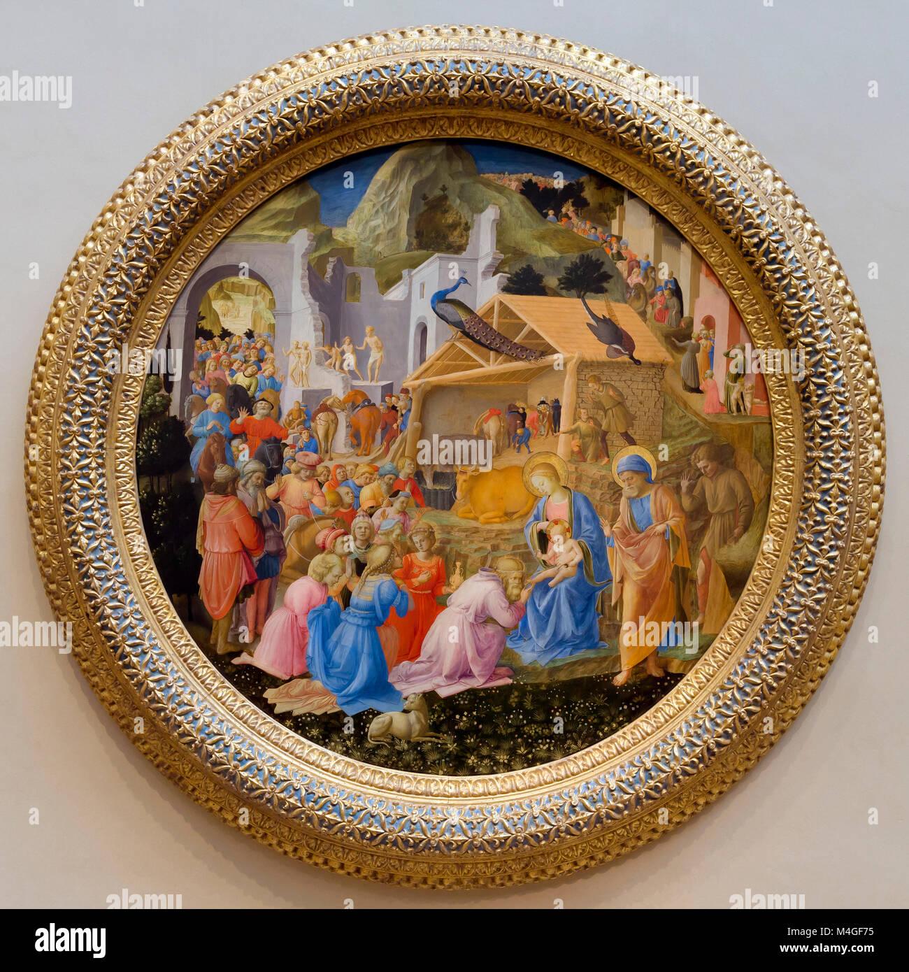 The Adoration of the Magi, Fra Angelico and Fra Filippo Lippi, circa 1440-1460, National Gallery of Art, Washington - Stock Image