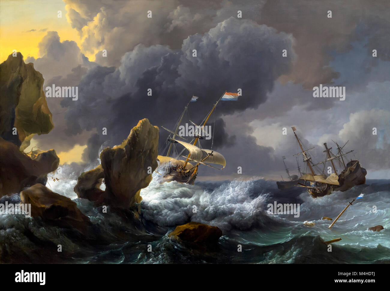 Ships in Distress off a Rocky Coast, Ludolf Bakhuizen, 1667, National Gallery of Art, Washington DC, USA, North - Stock Image