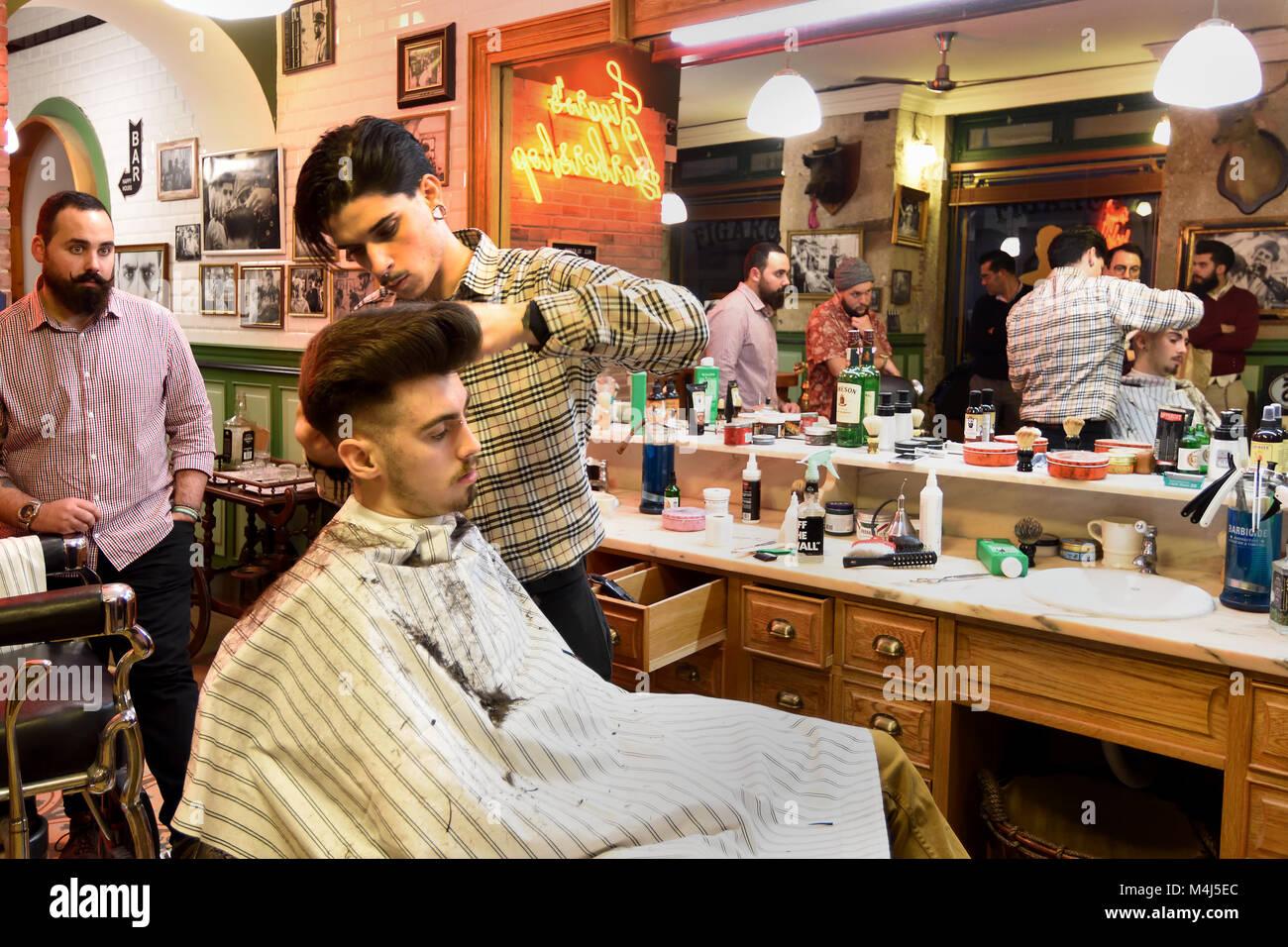 Figaro's Barbershop Lisboa Lisbon Portugal Lisbon (Rua Da Madalene 63 ) - Stock Image